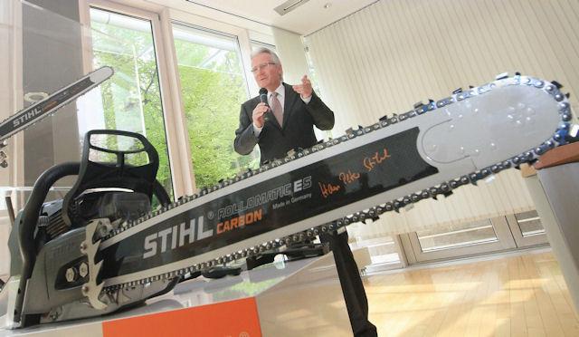 Штаб-квартира Stihl в Германии. Презентация экспериментальной карбоновой бензопилы  [фото: zvw.de]